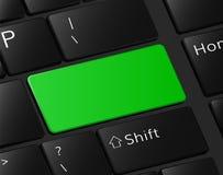 Grüner Knopf auf leerem freiem Raum der Tastaturmakroillustration Stockfoto