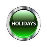 Grüner Knopf der Feiertage auf Weiß Stockfotos
