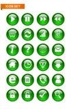 Grüner Knopfikonensatz Stockbilder