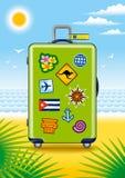 Grüner Koffer für Reise mit Aufklebern Stockbilder