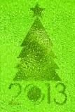 Grüner Kristallhintergrund des Weihnachtsbaums stockfoto