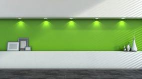 Grüner leerer Innenraum mit weißen Vasen Stockfotografie
