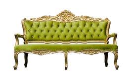 Grüner Luxuslehnsessel Sofa der Weinlese lokalisiert auf Weiß Stockfotografie