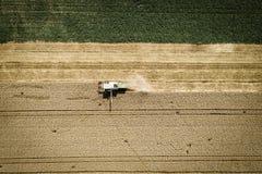 Grüner Mähdrescher, der Weizen auf einem Feld in Österreich erntet Stockfotos