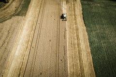 Grüner Mähdrescher, der Weizen auf einem Feld in Österreich erntet Lizenzfreie Stockbilder