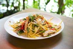 Grüner Mangosalat in Thailand Stockfotografie