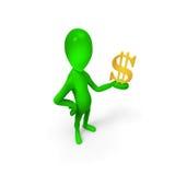Grüner Mann und der Dollar Stockfotos