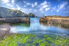 Grüner Meerespflanze und Meermittelpfosten beherbergten Cornwall Großbritannien in klarem hellem HDR Stockfoto