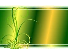 Grüner mit Blumenhintergrund mit Gras Stockbild