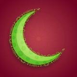Grüner Mond für islamische Festivalfeier Stockfotografie