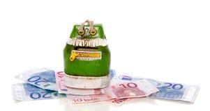 Grüner money- Beutel auf Banknoten Lizenzfreie Stockbilder