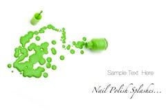 Grüner Nagellack spritzt Stockfoto