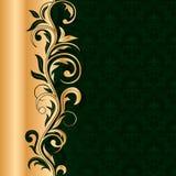 Grüner nahtloser Hintergrund mit Goldmuster Lizenzfreies Stockfoto