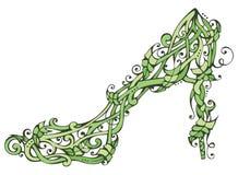 Grüner Naturfrauenschuh Stockfoto