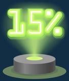 Grüner Neonlicht-Rabatt-Verkauf 15 Prozent Hologramm Cyber-Montag-Zeichen-Vektor Stockfotos