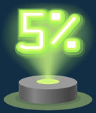 Grüner Neonlicht-Rabatt-Verkauf 5 Prozent Hologramm Cyber-Montag-Zeichen-Vektor Stockbild