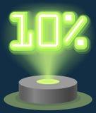 Grüner Neonlicht-Rabatt-Verkauf 10 Prozent Hologramm Cyber-Montag-Zeichen-Vektor Stockfoto