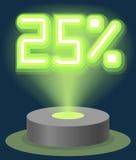 Grüner Neonlicht-Rabatt-Verkauf 25 Prozent Hologramm Cyber-Montag-Zeichen-Vektor Lizenzfreies Stockbild