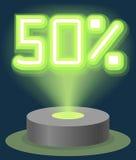 Grüner Neonlicht-Rabatt-Verkauf 50 Prozent Hologramm Cyber-Montag-Zeichen-Vektor Stockfotos