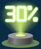 Grüner Neonlicht-Rabatt-Verkauf 30 Prozent Hologramm Cyber-Montag-Zeichen-Vektor Lizenzfreie Stockfotografie