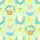 Grüner Ostern-Hintergrund mit Kaninchen Stockfotos