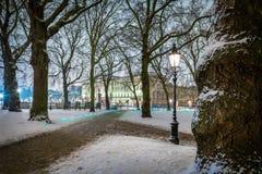 Grüner Park des Schnees in der Nacht, London Lizenzfreies Stockfoto