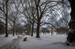 Grüner Park des Schnees in der Nacht, London Lizenzfreie Stockfotos