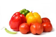 Grüner Pfeffer und Tomate Stockfoto