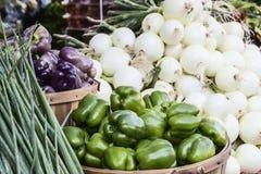 Grüner Pfeffer und Zwiebeln Lizenzfreies Stockfoto