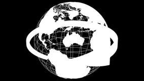 Grüner Pfeil drehen sich um transparentes Modell von Planeten-Erde Wiedergabe 3d lizenzfreie abbildung