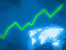 Grüner Pfeilgeschäfts-Blauhintergrund Lizenzfreie Stockfotografie