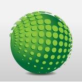 Grüner phosphoreszierender Ball mit Gleitkommata Lizenzfreie Stockfotos