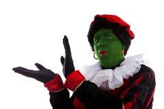 Grüner piet (schwarzer Peter) Witz auf typischem niederländischem Charakter Stockfotos