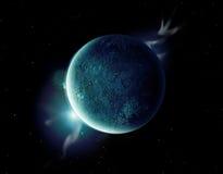 Grüner Planet im Universum mit Aura und Sternen Stockfotos