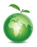 Grüner Planet mit Blatt lizenzfreie abbildung