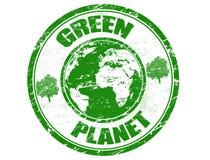 Grüner Planetenstempel Lizenzfreies Stockbild