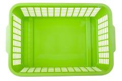 Grüner Plastikkorb stockfotos