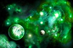 Grüner Platz mit zwei Planeten lizenzfreie abbildung