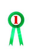 Grüner Preisbandausweis mit weißem Hintergrund Stockfotografie