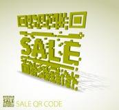 Grüner qr 3D Code für verbilligtes Feld Lizenzfreies Stockbild