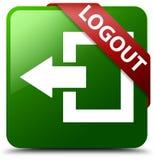 Grüner quadratischer Knopf der Abmeldung Lizenzfreies Stockfoto