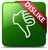 Grüner quadratischer Knopf der Abneigung Stockfoto