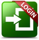 Grüner quadratischer Knopf der Anmeldung Lizenzfreies Stockbild