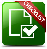Grüner quadratischer Knopf der Checkliste Stockbild
