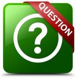 Grüner quadratischer Knopf der Frage Lizenzfreies Stockbild