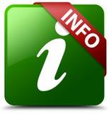 Grüner quadratischer Knopf der Informationen Stockfoto