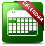 Grüner quadratischer Knopf des Kalenders Stockbilder