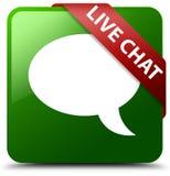 Grüner quadratischer Knopf des Live-Chats Lizenzfreie Stockbilder