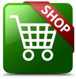 Grüner quadratischer Knopf des Shops Lizenzfreie Stockfotografie