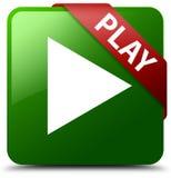 Grüner quadratischer Knopf des Spiels Stockfotografie